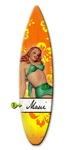 Bathing Beauty surfboard wood sign