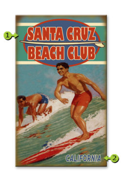 Beach Cub Surfers Wood Sign 14 x 24