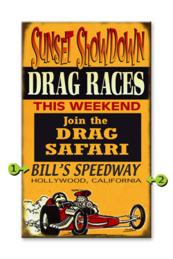 Wood Sign Sunset Drag Races 14x24