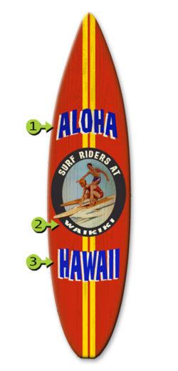 surf riders surfboard wood sign 12x44 aloha hawaii